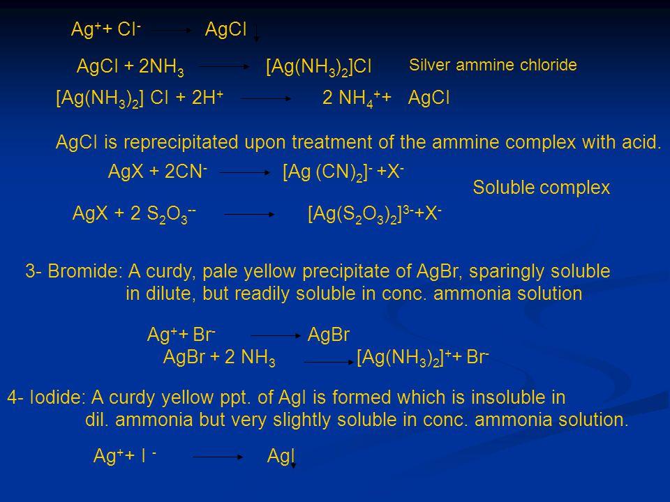 AgBr + 2 NH3 [Ag(NH3)2]++ Br-